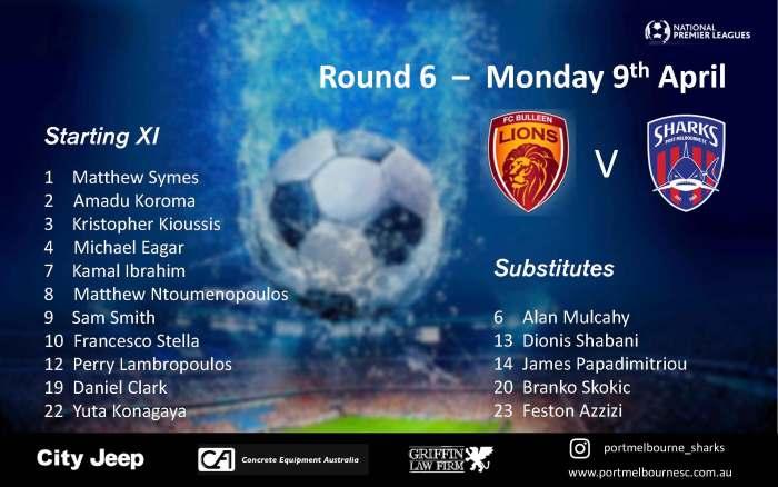 PMSC_Round 6_FC Bulleen - Senior Squad - Starting Line-up_180409