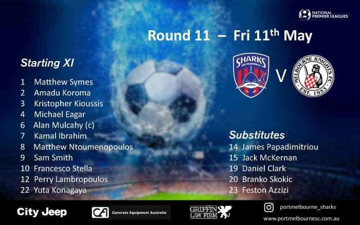 Round 11_Melbourne Knights FC - Senior Squad - Starting Line-up_180511