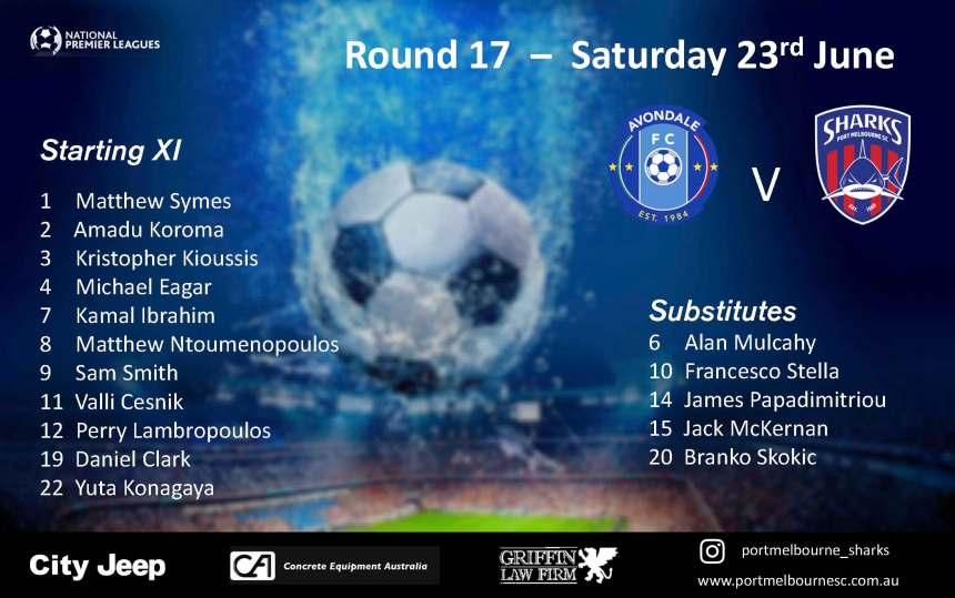 Round 17_Avondale FC - Senior Squad - Starting Line-up_180623