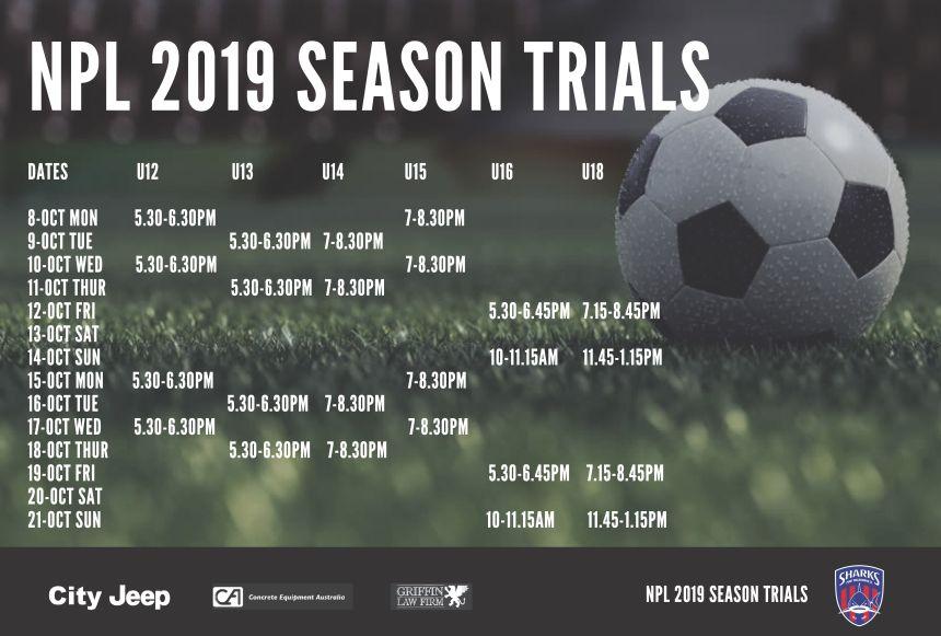 NPL 2019 Season Trials