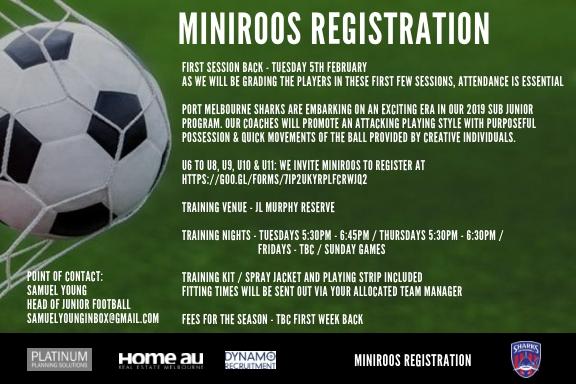 miniroos registration 2019 season_5 feb 2019