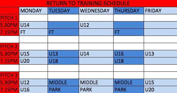 Return To Training Schedule_200601